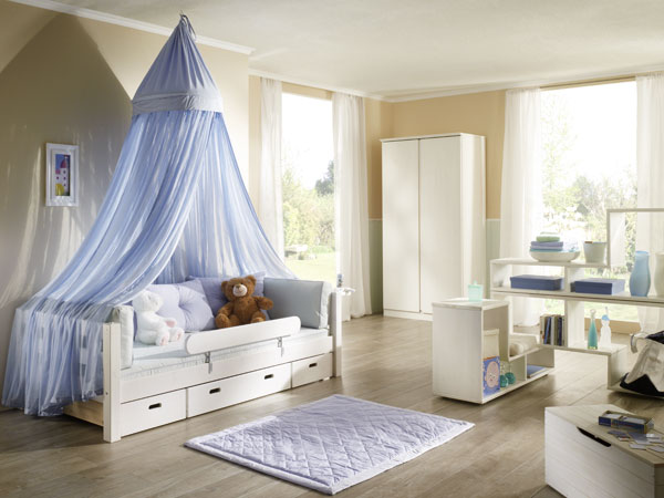 jugendbett noah mit laden kiefer weiss lackiert. Black Bedroom Furniture Sets. Home Design Ideas